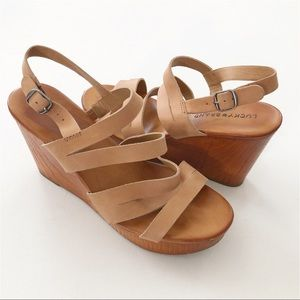 Lucky Brand Marinaa Strappy Leather Platform Wedge